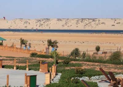 Lagoon and sand dunes view from Dakhla Kitesurf World Hotel