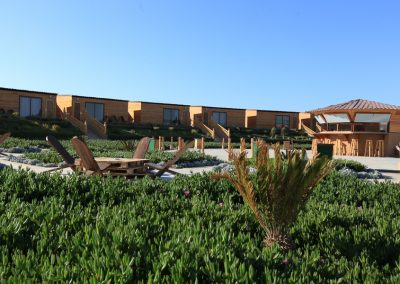Vegetation by the lounge area with casual bar and frontline lagoon view Deluxe Bungalows at Dakhla Kitesurf World Hotel